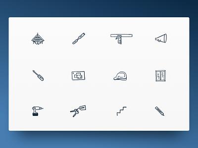 Custom Illustrative Icons icon set icon sketch art work construction building illustration ui design icon design icons