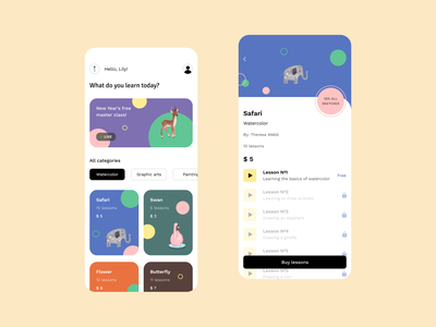 Learning to draw mobile app minimal figma illustraion interface design draw art courses ux ui animal learn learning app