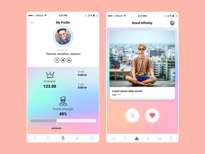 App Design gradient mobile app ios