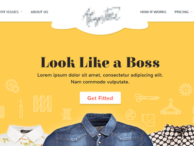 Homepage Variations web design icons clothes tailor landing page