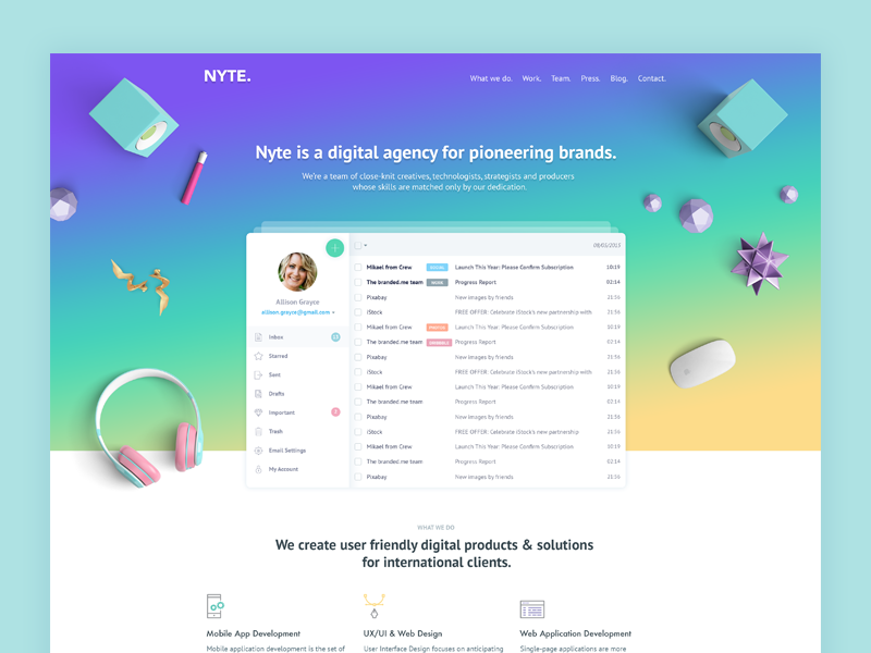 Landing page exploration website web design clean material design landing page