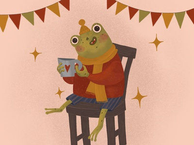 Happy frog childrens book illustration animal illustration childrens illustration