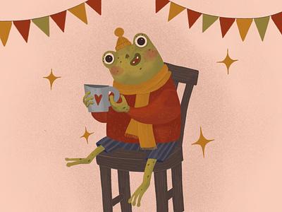 Happy frog childrens book illustration animal illustration childrens illustration