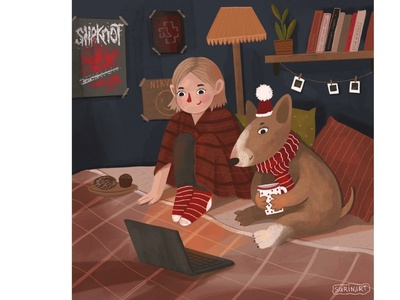 Cozy evening poster design portrait art childrens book illustration childrens illustration