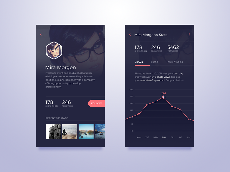 User Profile & Stats chart stats user interface material design material design profile user mobile app android ui