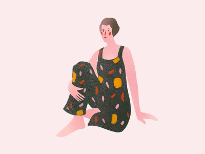 Shy girl character figure illustration character female person girl design editorial artwork editorial illustration digital illustration