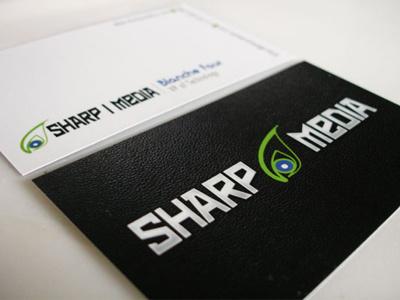 Sharp I Media - Business Card black white print modern business card minimal leather identity typography branding stationary