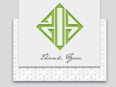 Custom Thank You design green white grey typography modern pattern minimal logo identity card thank you stationary print