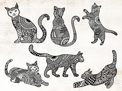 Cat Doodle Arts animal drawing cat drawing drawing cat illustration animal illustration pattern art cat doodle art zentangle mandala art cats mandala mandala doodle art