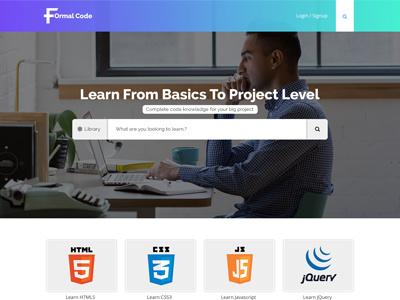 Tutorials Website Homepage formal code landing page homepage website coding tutorials