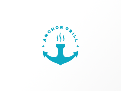 Anchor Grill typography mark symbol logotype logo grill descendents blue anchor