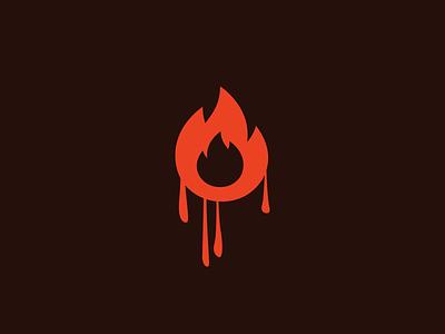 Melting Fire flame melting symbol logo mark icon fire