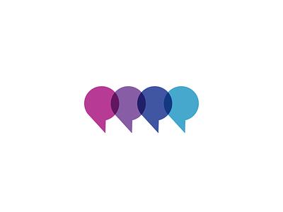 Chat Bubbles overprint bubbles chat symbol logo identity icon form