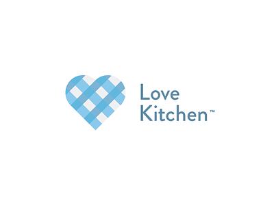 Love Kitchen blue cloth love kitchen heart symbol mark logo identity