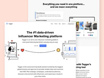 Tagger Media Landing Page design web marketing influencer marketing influencer page ux ui