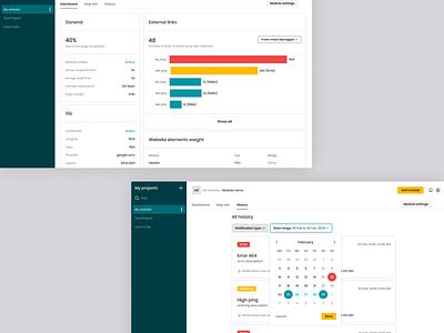 Webwatcher - It Works Dashboard monitors monitoring dashboard monitor web interface app design ux ui