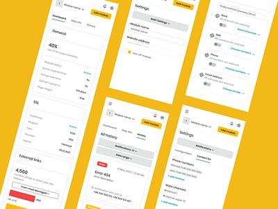 Webwatcher - It Works mobile dashboard monitoring dashboard monitor web interface app design ux ui