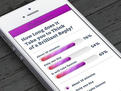 "Poll Concept ""Pollymeter"" poll progress bar app iphone slider purple pink pollymeter"