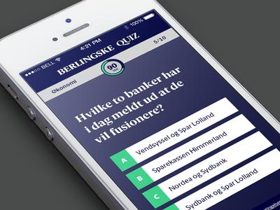 Berlingske Quiz ui quiz design mobile ux interface ios iphone game berlingske gantzel