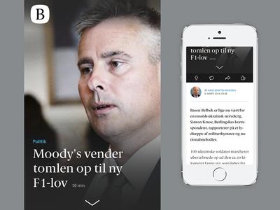 Berlingske News Mobile ui flat user interface simple news newspaper mobile berlingske