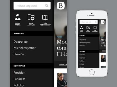 Berlingske News Mobile - The Menu ui flat user interface menu simple news newspaper mobile berlingske