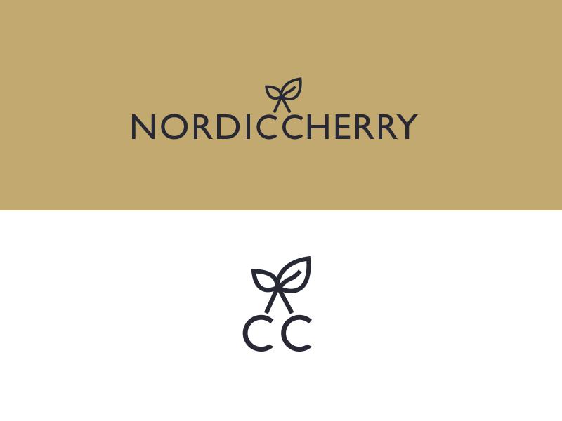 Nordic Cherry Branding identity nordic cherry gold icon logo branding