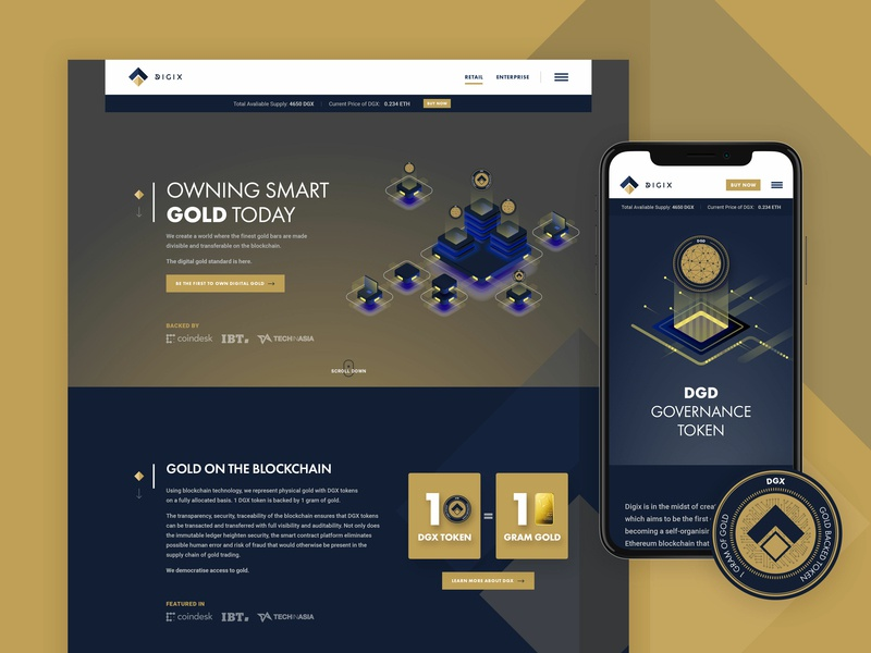 Digix mobile responsive web coin digix clean dgx tech token blockchain gold crypto currency crypto