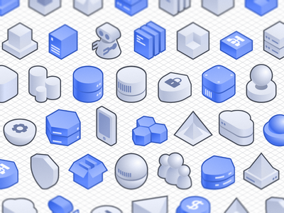 Architecture Chart Tools For Figma architecture geetest saas cube design figma blue isometric illustration icon ui