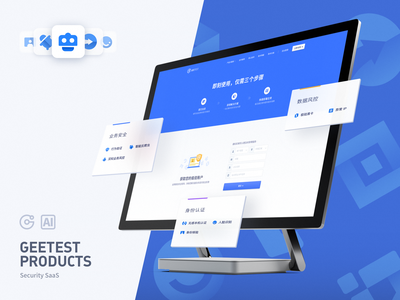GeeTest SaaS Sign up logo card sign in sign up web saas icon security design geetest blue website ui
