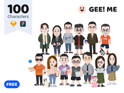 GEE! ME - 100 Characters Free Download colorful cartoon sticker pack webdesign free flat vector character kit design illustration