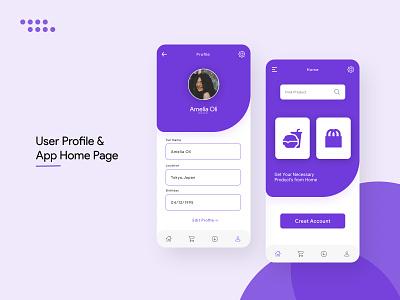User Profile & App Home Page UI ui ux user profile user interface design app design dailyuichallenge ui design