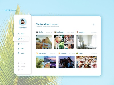 Photo Gallery photo gallery photo album ui deisgn design profiles ui design web app interface inspiration user interface uxui ui ux profile daily ui selfie interior picture