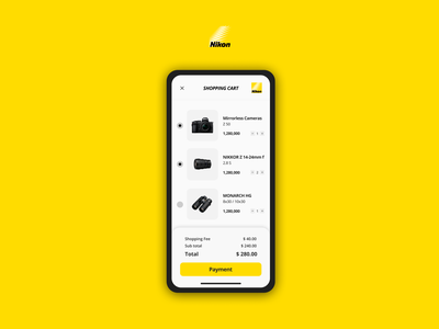 Nikon App Shopping Cart simple design shopping basket shopping app brand nikon cart shopping cart cart ui app mobile ux ui uiux ui design app design payments design payment app simple interface