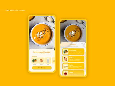 Food Recipes App recipe app recipe mobile interface app design daily ui app design ui design uxui ui ux food recipes food app ui food app food recipe
