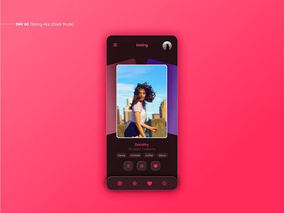 Dating App (Dark Mode) dating website dating app datingapp ux ui uxui daily ui app design interface mobile app design app ui design mobile app design inspiration simple dating figma web