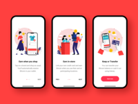 Onboarding screens for bitcoin cashback product ecommerce shop online shopping button ios tutorial cashback bitcoin startup product design interface interaction design red clean illustrations onboarding screens onboarding ux ui  ux ui