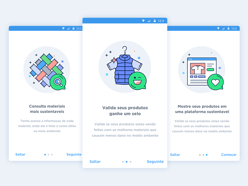Onboarding Cards Illustrations visual design product design ui ux clean experience user interface material design illustration onborading susteinable
