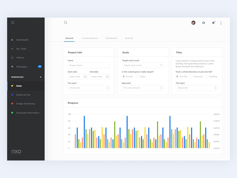 Task - Dashboard clean interacton experience design user interface dashboard task