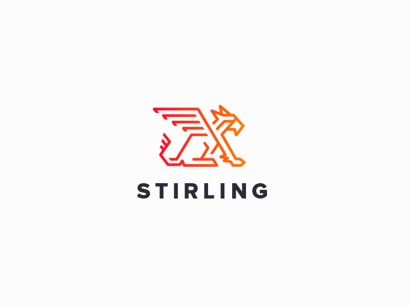 Stirling Logo griffin animal clean line gradient red branding logo