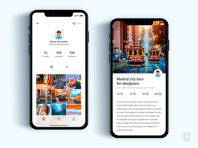 Profile Screen, Event Screen  - App for iPhoneX user interface user experience web ui ux user experience design daily inspiration interface visual design.graphic design