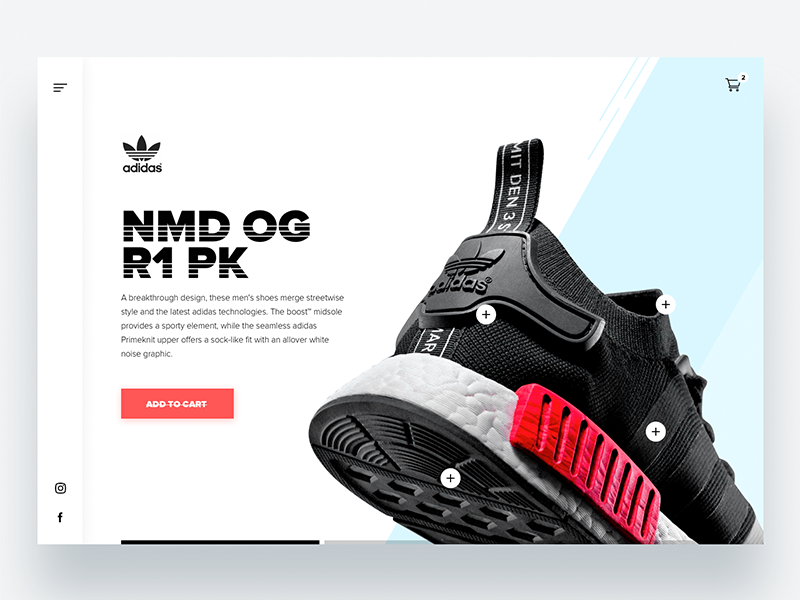 Adidas Microsite Concept - Daily UI Challenge 1/365 app design user experience user interface product design web design interface clean design designer ixda ux ui design