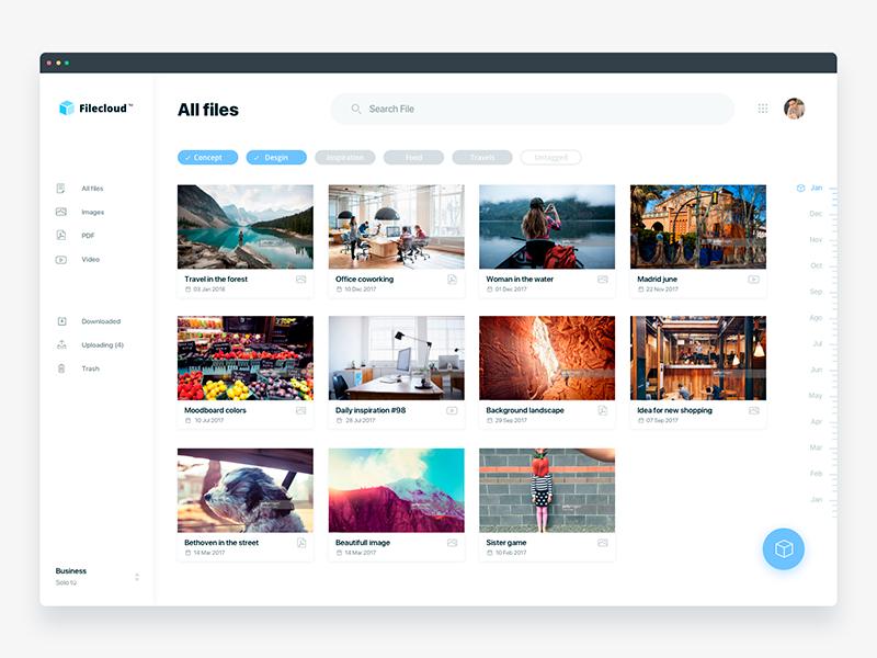 Filecloud cloud app - Daily UI Challenge 8/365 ixda inbox app design email app clean interaction design user interface user experience ux design ui design ui ux
