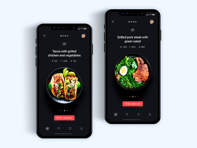 Food menu app delivery - Daily UI Challenge 9/365
