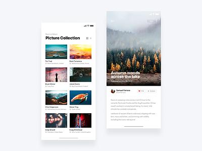 Social photo app  - Daily UI Challenge 12/365 ux ui ui design ux design user experience user interface interaction design clean web design photo app photo ixda