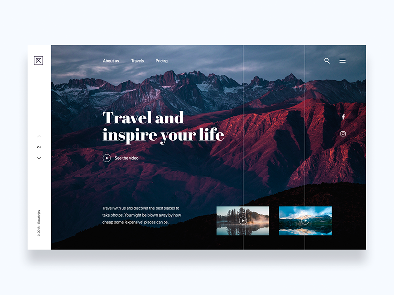 Roadtrips, travel and take photos - Daily UI Challenge 17/365 web design travel app photo ixda landing page interaction design user interface user experience ux design ui design ui ux