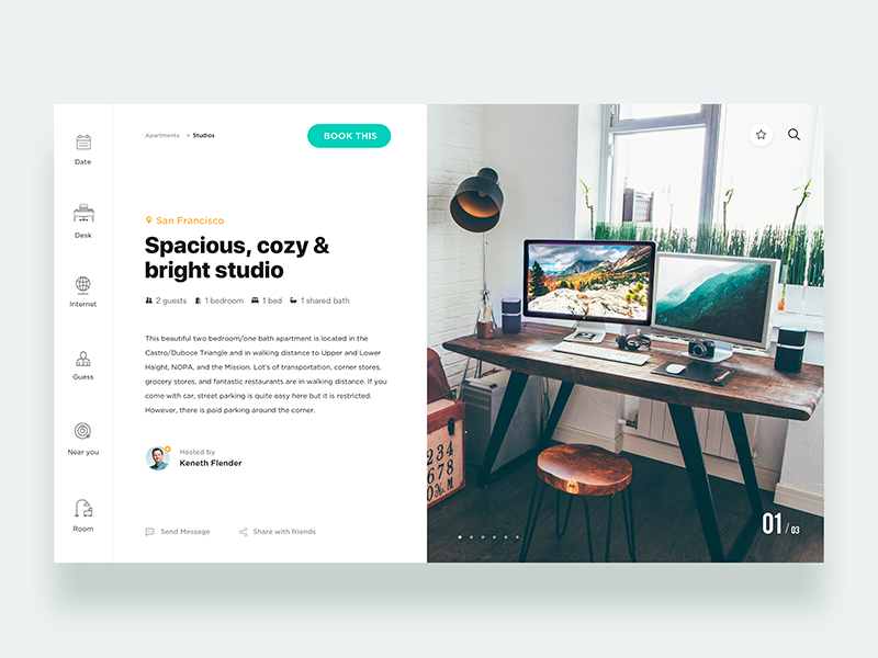 Reserve studio design in house - Daily UI Challenge 20/365 ux ui ui design ux design user experience user interface interaction design landing page ixda booking travel airbnb