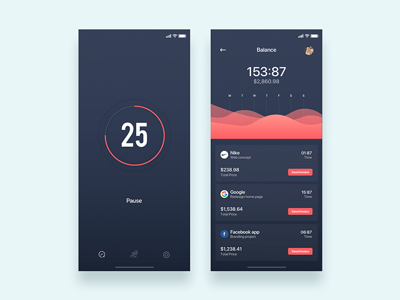 Timer for remote work - Daily UI Challenge 23/365 remote work fintech timer ixda ap interaction design user interface user experience ux design ui design ui ux