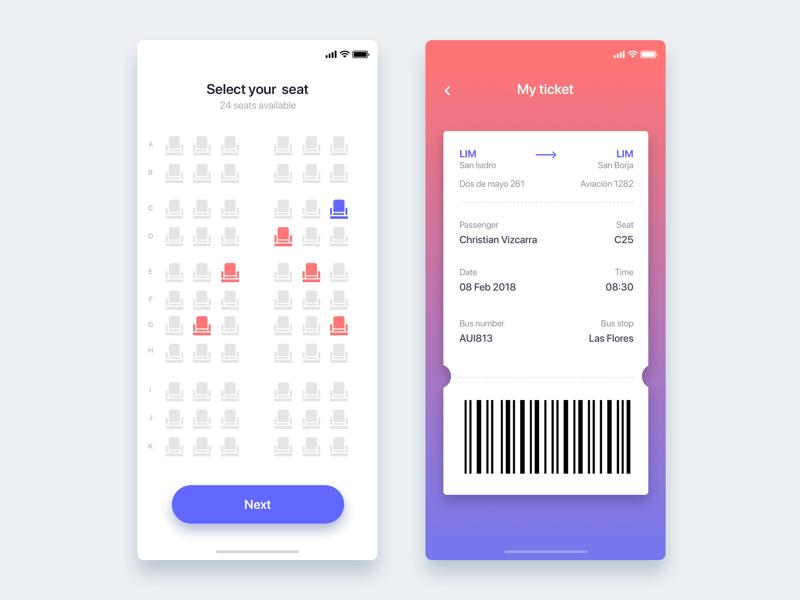Bus seat reservation app - Daily UI Challenge 39/365 ticket photo app app ux ui ui design ux design user experience user interface interaction design