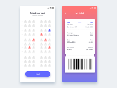 Bus seat reservation app - Daily UI Challenge 39/365