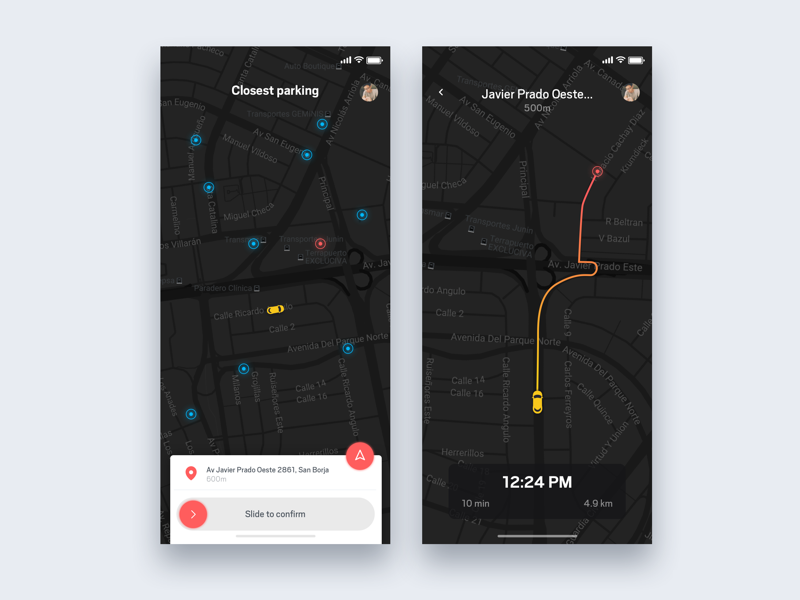 Parking car app - Daily UI Challenge 42/365 interaction design user interface user experience ux design ui design ui ux app setup app workspace